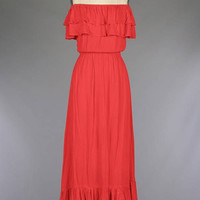 Strapless Double Ruffle Layered Woven Maxi Dress/Off The Shoulder Layered Maxi Dress/ + Colors