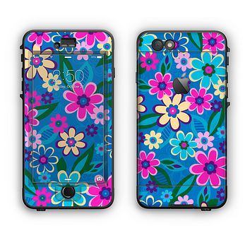 The Bright Pink & Blue Vector Floral Apple iPhone 6 Plus LifeProof Nuud Case Skin Set