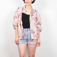 Vintage 80s Bomber Jacket Light Pink Silk Windbreaker Jacket 1980s Track Jacket Novelty Musical Instrument Print Sporty Wind Breaker L Large