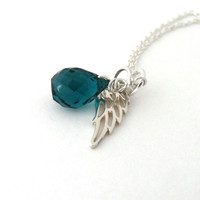 Guardian angel necklace, Ovarian cancer necklace, memorial jewelry, teal gemstone, sterling silver, cancer awareness jewelry