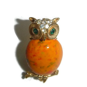 70's Owl Brooch Pin, Bird, Figural, 1970's, Boho Chic Fashion, Rhinestones, Orange, Jelly Belly, Cottage Chic, Autumn Fall Vintage Jewelry