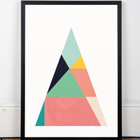 Triangle art print, Geometric poster, Colorful poster, Contemporary art, Wall art, Triangles pattern, Pastel colors, Scandinavian art, A3