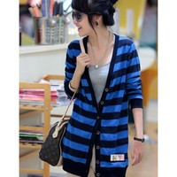 Long Sleeve Apparel Women Clothing Fashion Autumn Apparel New Style Stripe Casual Blue Knitting Cardigan M/L @GP0006bl $18.66 only in eFexcity.com.
