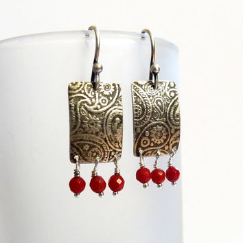 Paisley textured earrings with red coral, silver earrings, dangle earrings