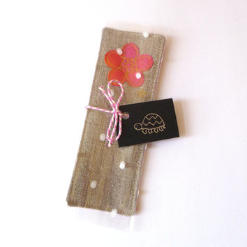 Embroidered bookmark for her. Hot pink flower design on pure natural linen. Lovely small birthday gift for a girl. Handmade in England.