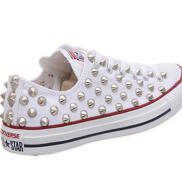 Studded Converse, Converse White Low Top with Silver Cone Studs by CUSTOMDUO