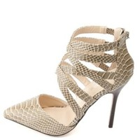 Anne Michelle Strappy Caged Pointed Toe Pumps - Taupe