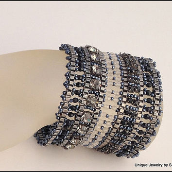 Beaded Woven Cuff Bracelet, Peyote Stitch, Beaded Woven Cuff,Seed Bead Cuff Bracelet