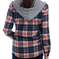 Allegra K Women Plaid Tops Button Down Flap Pocket Hooded Shirt Dark Blue M