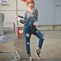 2015 New Plus size Korean New Womens Jumpsuit Denim Overalls Casual Skinny Girls Pants Jeans