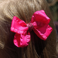 hot pink ruffled bow- back to school accessories- sparkly hair