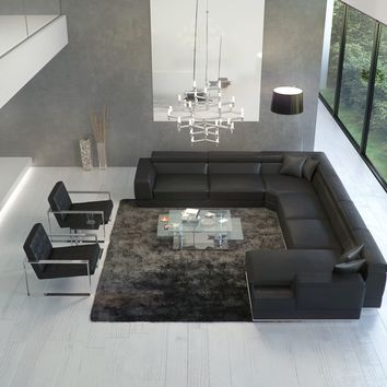 Bergamo Extended Sectional Leather Modern Sofa Black : modani sectional - Sectionals, Sofas & Couches