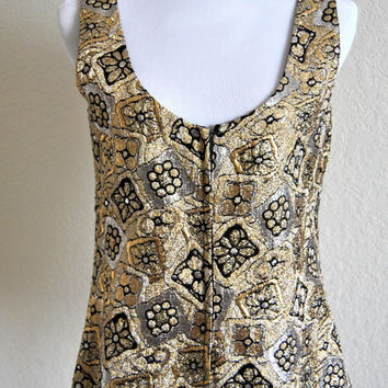 Vintage 1970s Metallic Brocade Womens Vest Silver Gold Embroidery Floral Metal Lace Lame Sequin Broderie