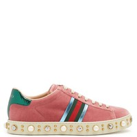 New Ace faux-pearl embellished velvet trainers | Gucci | MATCHESFASHION.COM US