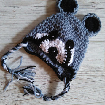 Crochet Raccoon Hat Raccoon Hat baby Raccoon Hat  Newborn  Raccoon Animal Hat Crochet baby Hat   Photo Prop Raccoon Costume Beanie Outfit