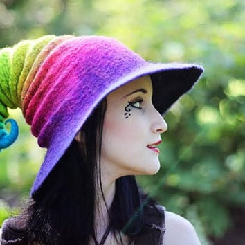 Rainbow Halloween Witch Hat. Wizard Hat. Fantasy Hat. Cosplay Hat. LARP.