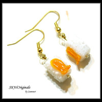 Shrimp Sushi Glass Lampwork Bead Earring - Womens Jewelry - Food Earrings - glass Bead Earrings