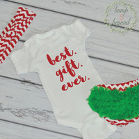 Infant Christmas Outfit Baby Girl First Christmas Outfit Newborn 1st Christmas Outfit Headband Bloomers Set Best Gift Ever 005