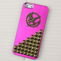 Mei Red Metal Hard Case Cover With Silvery Stud  And Hunger Games Mockingjay for Apple iPhone5 Case,iPhone 5 Case