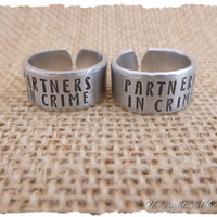 Hand Stamped Jewelry Ring - Matching Set - Relationship - Friends - Gift for friend gift for her  - His and Her matching - Tarzan Jane