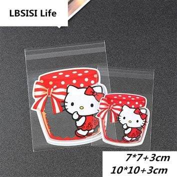 100pcs Red Hello Kitty Candy Cookie Bags Wedding Birthday Party Craft Self Adhesive Plastic Biscuit Packaging Gift Bag