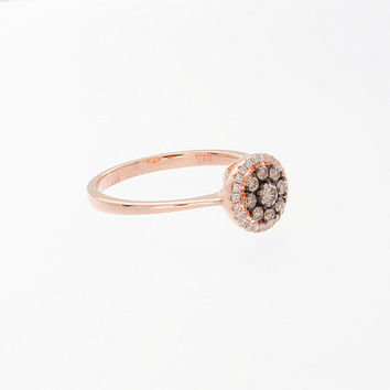 Rose Gold Engagement Ring, Chocolate Diamod Ring, anniversary gift