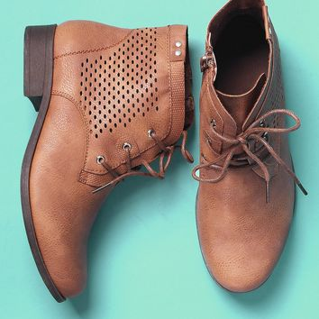 Perforated Lace-Up Combat Ankle Boots