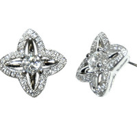 Jevae Clover Fashion CZ Stud Earrings | Cubic Zirconia | Silver