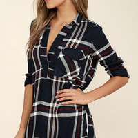 Chic Thrills Navy Blue Plaid Tunic Top