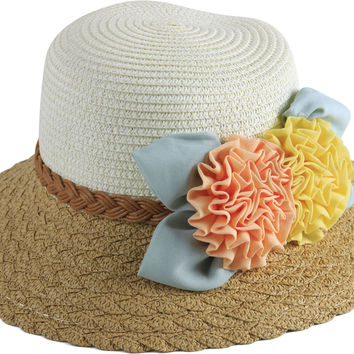 Dropship Two-Toned Beige and Brown Small Brim Straw Hat with Multicolored Accent