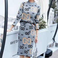 GUCCI Autumn And Winter Fashion New More Letter Knit Long Sleeve Top Sweater And Skirt Two Piece Suit Leisure Gray