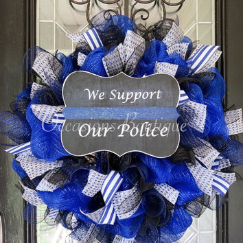 Police wreath, Law Enforcement, Support Wreath, Front door wreath, Wreath for Door, XL Wreath