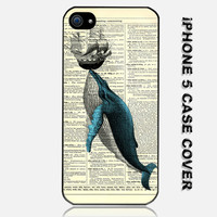 Vintage Blue Whale Original Custom iPhone 5 Case Cover