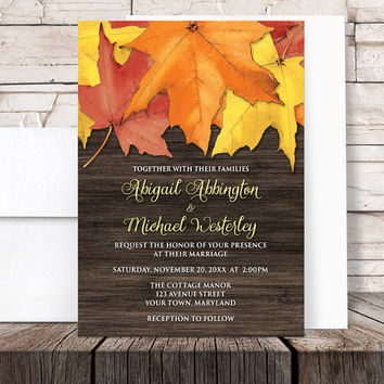 Autumn Wedding Invitations Leaves Wood design - Fall Red Orange Yellow Country Brown - Printed Invitations