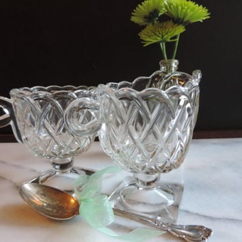 Indiana Glass Depression Glass Pretzel Pattern Sugar and Creamer Late 30's 40's
