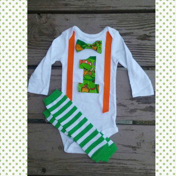 TMNT Birthday Boy Outfit - First Birthday - Second Birthday - Leg warmers - Ninja Turtle Onesuit -Tmnt birthday