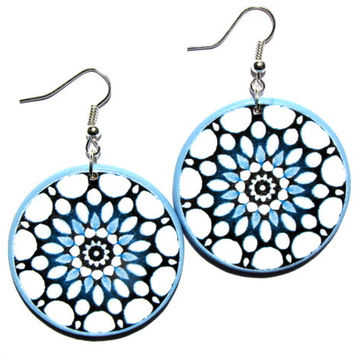 Large turquoise dangle, unique bohemian jewelry, big lightweight earrings, round  earrings, blue white earrings, boho dangle, beach earrings