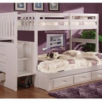Cambridge Twin over Full Stair Stepper Bunk Bed White | Bed Frames | Discovery World Furniture
