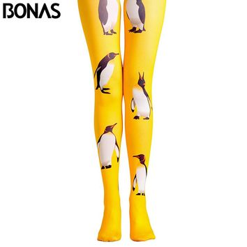 BONAS Penguin Pantyhose Yellow Cartoon Animals Print Legins