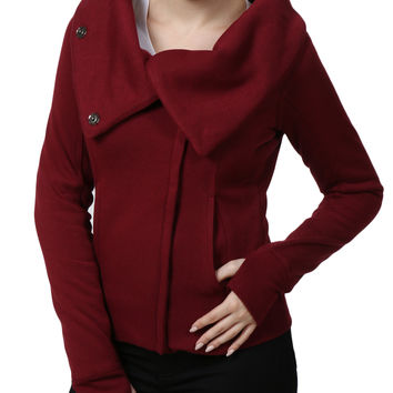 LE3NO Womens Cowl Neck Zip Up Fleece Jacket with Thumb Hole (CLEARANCE)