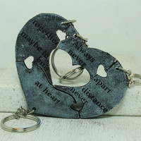Friendship Key chains set of 4 Leather Puzzle Key chains Baby Blue H3