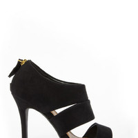 My Delicious Large Black Suede Cutout Peep Toe Heels