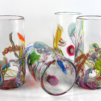 Cane-Fetti Tumblers by Michael Richardson, Justin Tarducci and Tim Underwood (Art Glass Tumbler) | Artful Home