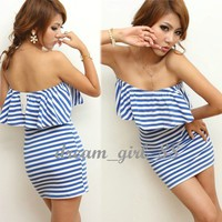 NEW Women Striped Ruffled Off Shoulder Mini Party Dress