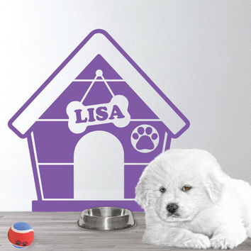 Personalized Dog house Wall Decal - Dog house wall decal -  Puppy Dog Theme  - Dog Name Decal - Gift for Dog lovers