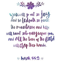 You Will Go Out In Joy Print / Purple Watercolor Print / Isaiah 55 Print / Inspirational Print / Scripture Print / Bible Verse Print