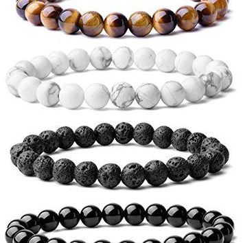 SHIP BY USPS: WRCXSTONE Natural 8mm Gorgeous Semi-Precious Gemstones Healing Crystal Stretch Beaded Bracelet Unisex