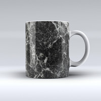 The Black Scratched Marble ink-Fuzed Ceramic Coffee Mug