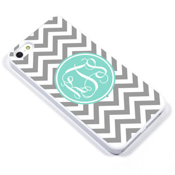 Personalised iPhone Case iPhone 5 iPhone 5s iPhone 5C iphone 4 Samsung Galaxy S3 S4 - Monogram Chevron grey Mint - p08