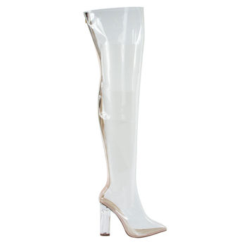 Tatum1 Clear Transparent Jelly OTK Over Knee Boot, Perspex Plexiglas Block Heel